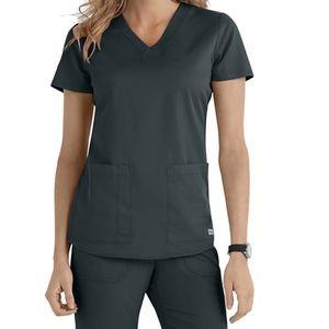 Grey's Anatomy V Neck Scrub Top in Steel XS